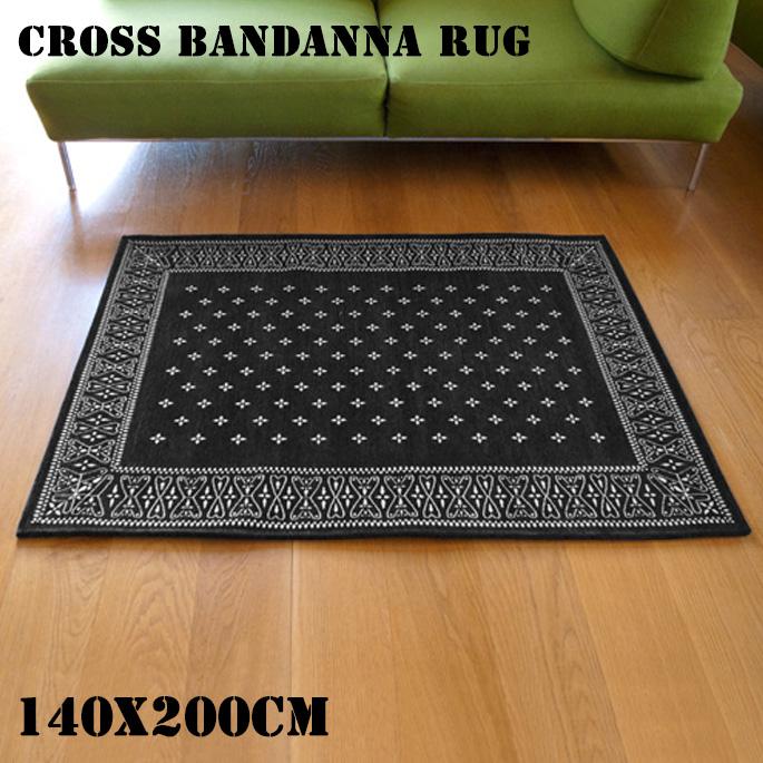 Cross Bandanna Rug Black(クロス バンダナ ラグ ブラック) 140x100cm 2597BKM 送料無料