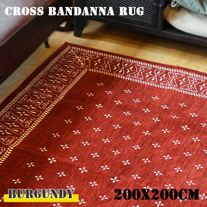 cross bandanna rug Burgundy(クロス バンダナ ラグ バーガンディ) 200×200cm 2597BULL 送料無料