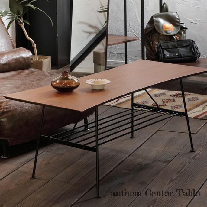 【送料無料】コーヒーテーブル 100×45×41cm アンセム センターテーブル anthem Center Table ANT-2391BR センターテーブル リビングテーブル ウォールナット材 スチール 金属 西海岸 カフェ風 新生活 引越