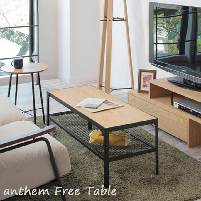 【送料無料】コーヒーテーブル 100×40×40cm アンセム フリーテーブル anthem Free Table ANT-2918NA センターテーブル リビングテーブル オーク材 スチール 金属 西海岸 カフェ風 新生活 引越