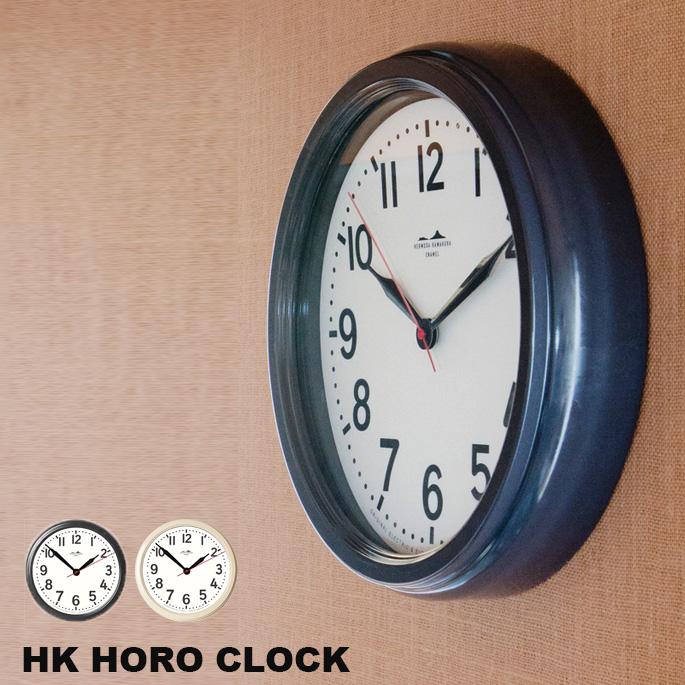 壁掛け時計 HK ホーロークロック HK HORO CLOCK ハモサ HERMOSA HK-001BK IV ウォールクロック 時計 掛け時計 琺瑯 電波時計スイープムーブメント ヴィンテージ レトロ インダストリアル おしゃれ 男前インテリア