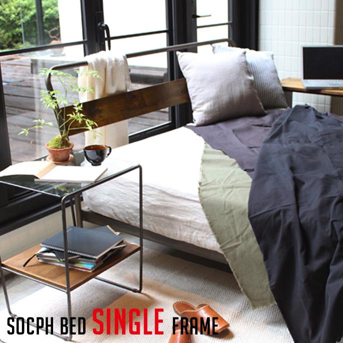 ベッドフレーム ソコフ ベッド シングル socph bed single SCP-BED-SG アデペシュ a.depeche カバ材 寝室 木製家具 西海岸 アメリカンビンテージ 送料無料