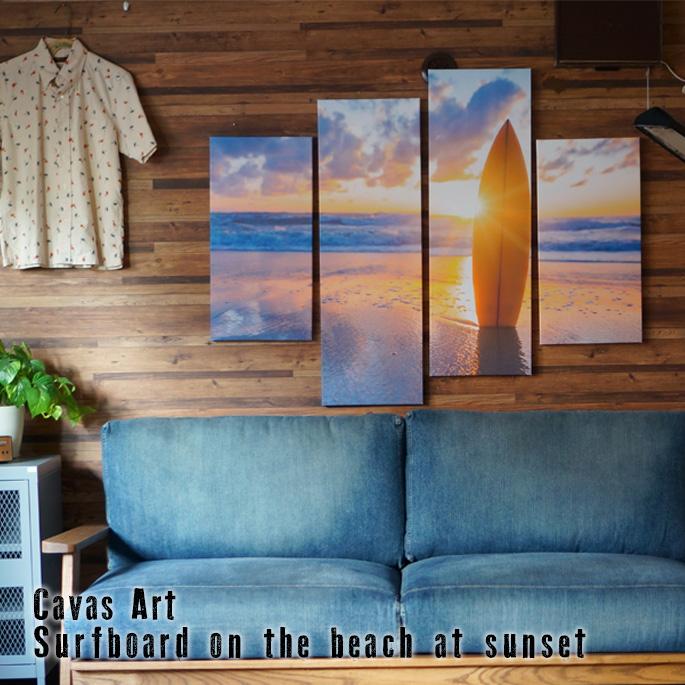 アート キャンバスアート ベロ― Canvas Art Bello IPT-61747 JIG Surfboard on the beach at sunset 美術品 写真 絵画 キャンバスアート インテリア 西海岸 ヴィンテージ おしゃれ