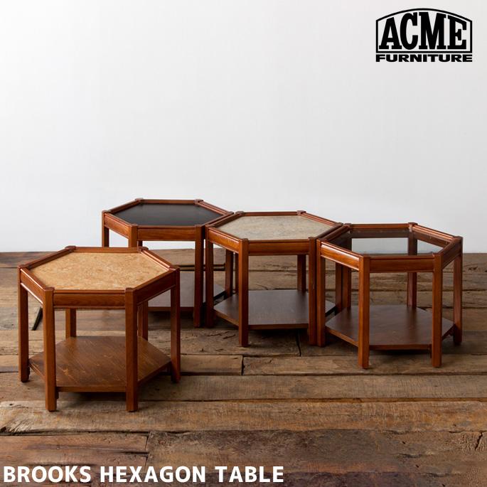 サイドテーブルブルックス ヘキサゴン テーブル BROOKS HEXAGON TABLE アクメ ファニチャー ACME Furniture BEIGE BLACK GRAY CLEARベッドサイドテーブル コーヒーテーブル オーク メラニン 組立不要 ウレタン ラッカー塗装 リノリウム ヴィンテージ 西海岸
