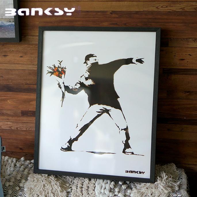 アート Molotov バンクシー Banksy IBA-61735 絵画 アートフレーム 風刺画 ストリートアート 路上芸術 オークション イギリス ロンドン 芸術 オシャレ 430×530×32mm 英国 UK ダークユーモア ブラックジョーク ステンシル技法
