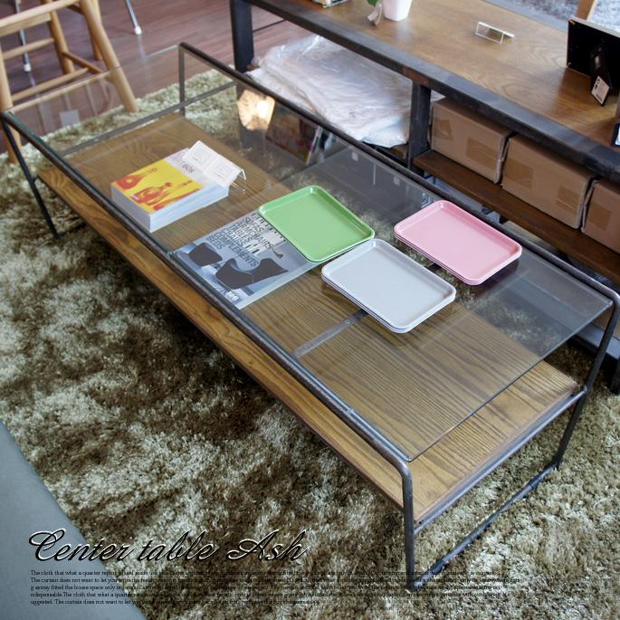 レトロ感漂うガラステーブル! ヴィンテージ センターテーブル アッシュ(Vintage Center Table Ash) 送料無料
