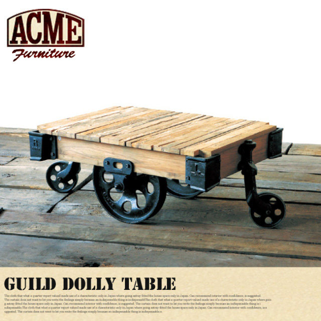 アクメファニチャー ACME Furniture ギルド ドーリーテーブル GUILD DOLLY TABLE S センターテーブル 幅90cm コーヒーテーブル ローテーブル 正規品 無垢材 アイアン 車輪 キャスター 西海岸 アメリカンビンテージ ヴィンテージ カフェ風