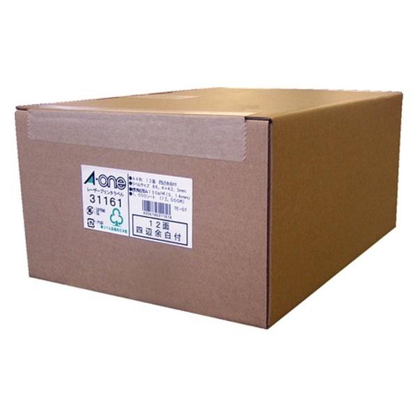 【送料無料】 エーワン ラベルシール[レーザープリンタ] (A4サイズ・12面・1000枚) 31161