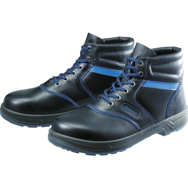【送料無料】 シモン 安全靴 編上靴 SL22-BL黒/ブルー 25.0cm SL22BL25.0