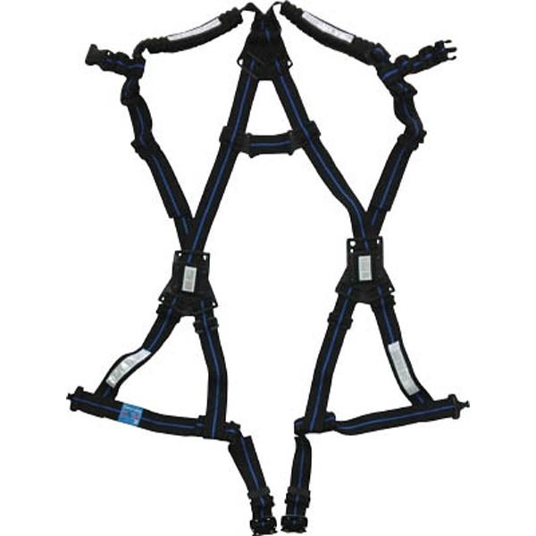 【送料無料】 基陽 KH 鳶忍者 X型ハーネス ワンタッチ式 M-L寸 黒/青 HXBL-ML