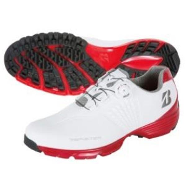 【送料無料】 ブリヂストン メンズ ゴルフシューズ ゼロ・スパイク バイター ツアー(26.5cm/ホワイト×レッド) SHG650