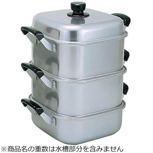 【送料無料】 アカオアルミ アルマイト角型蒸し器 26cm 二重 <AMS71262>