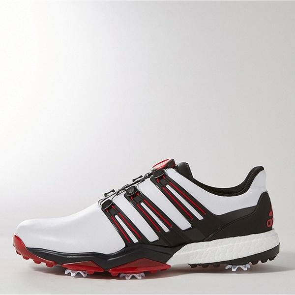 【送料無料】 アディダス メンズ ゴルフシューズ powerband Boa boost(27.0cm/ホワイト×コアブラック×スカーレット) Q44870