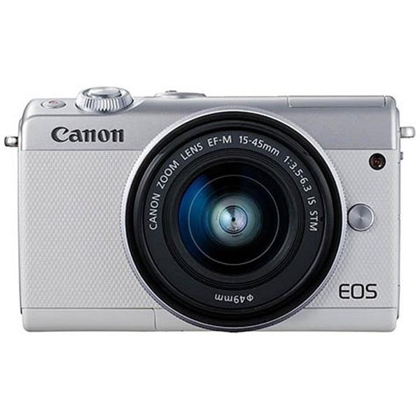 【送料無料】 キヤノン CANON EOS M100【EF-M15-45 IS STM レンズキット】(ホワイト/ミラーレス一眼カメラ)[EOSM100WH1545ISSTMLK]