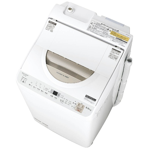 【標準設置費込み】 シャープ SHARP 【1500円OFFクーポン 8/1 00:00~8/3 23:59】ES-TX5B-N 縦型洗濯乾燥機 ゴールド系 [洗濯5.0kg /乾燥3.5kg /ヒーター乾燥(排気タイプ) /上開き]