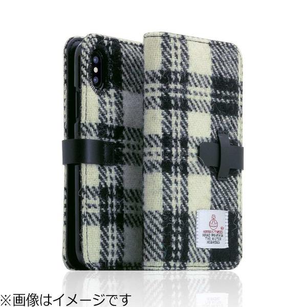 【送料無料】 ROA iPhone X用 手帳型 Harris Tweed Diary ホワイト×ブラック SD10558I8