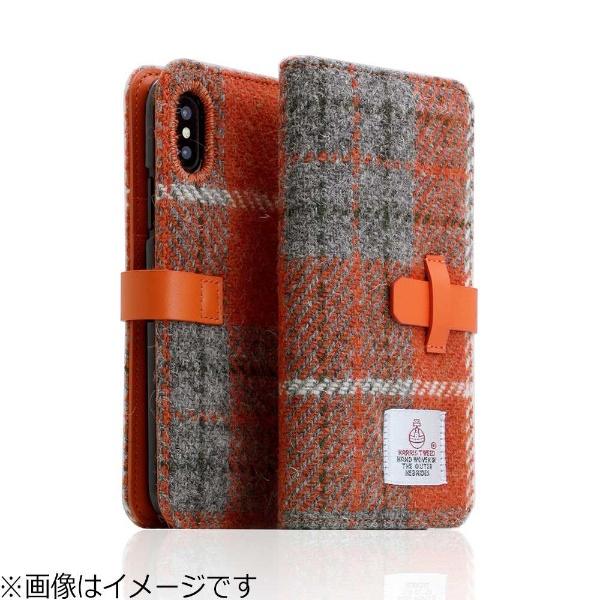 【送料無料】 ROA iPhone X用 手帳型 Harris Tweed Diary オレンジ×グレー SD10555I8