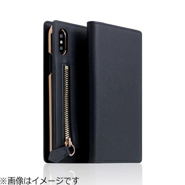 【送料無料】 ROA iPhone X用 手帳型 Saffiano Zipper Case ネイビー SD10536I8
