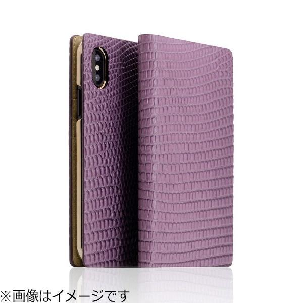 【送料無料】 ROA iPhone X用 手帳型 Lizard Case パープル SD10526I8