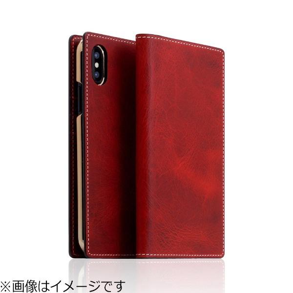 【送料無料】 ROA iPhone X用 手帳型 Badalassi Wax case レッド SD10521I8
