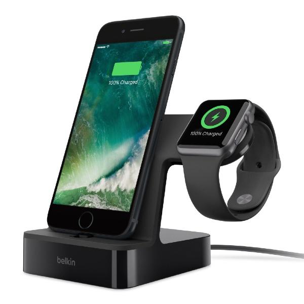 【送料無料】 BELKIN F8J200QEBLK PowerHouse Charge Dock for Apple Watch + iPhone F8J200QEBLK ブラック F8J200QEBLK[F8J200QEBLK]