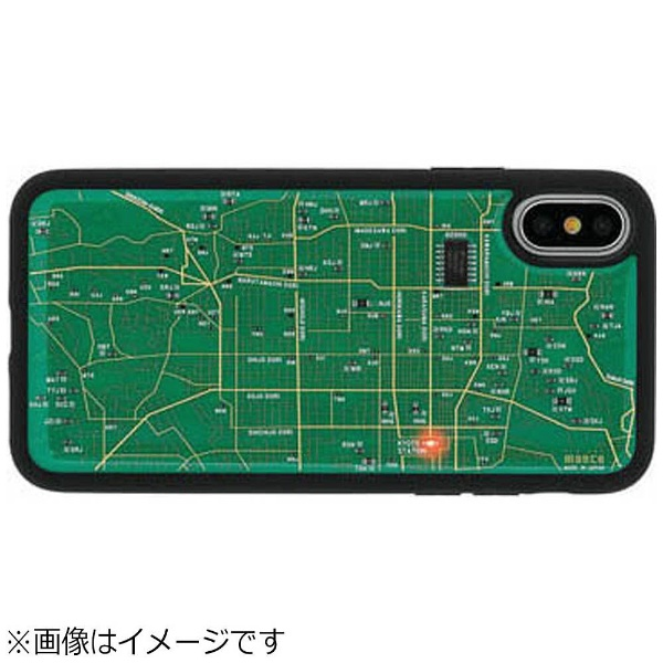 【送料無料】 電子技販 iPhone X用 FLASH 京都回路地図ケース 緑 PX030G