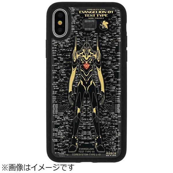 【送料無料】 電子技販 iPhone X用 エヴァンゲリオン FLASH EVA01 基板アートケース 黒 PX120B