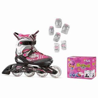 【送料無料】 FILA ジュニア用インラインスケート J-ONE G COMBO 2 SET(Lサイズ/ブラック×グレー×ピンク) 010617165