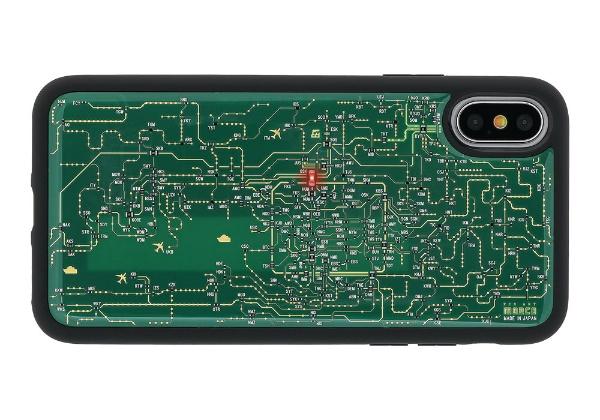 【送料無料】 電子技販 iPhone X用 FLASH 関西回路線図ケース 緑 PX020G