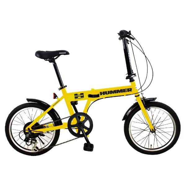 【送料無料】 ハマー 18型 折りたたみ自転車 HUMMER FDB186 IW-III(イエロー/6段変速) FDB186IW3【組立商品につき返品不可】 【代金引換配送不可】