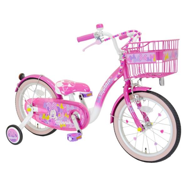 【送料無料】 アイデス 16型 幼児用自転車 Poppin' Ribbon(ミニーマウスデザイン/ピンク) 【代金引換配送不可】【メーカー直送・代金引換不可・時間指定・返品不可】
