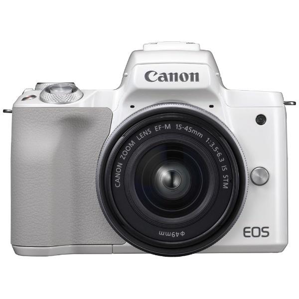 【送料無料】 キヤノン CANON 【10%OFFクーポン 8/4 18:00 ~ 8/5 23:59】EOS Kiss M【EF-M15-45 IS STM レンズキット】(ホワイト/ミラーレス一眼カメラ)[EOSKISSMWH1545ISLK]