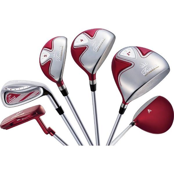 【送料無料】 ウィルソン レディース ゴルフクラブ Tiara MODA 8本セット レッド《Tiara MODA オリジナルカーボンシャフト》L