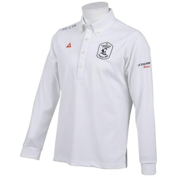 【送料無料】 ルコック メンズ ルコックゴルフ 長袖ニットシャツ(LLサイズ/ホワイト) QGMLJB00