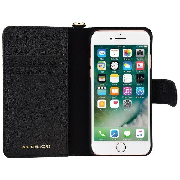 【送料無料】 マイケルコース iPhone 7/8 Black Leather Folio 32S7GZ3L4L-001 ブラック 手帳型ケース 32S7GZ3L4L-001 ブラック