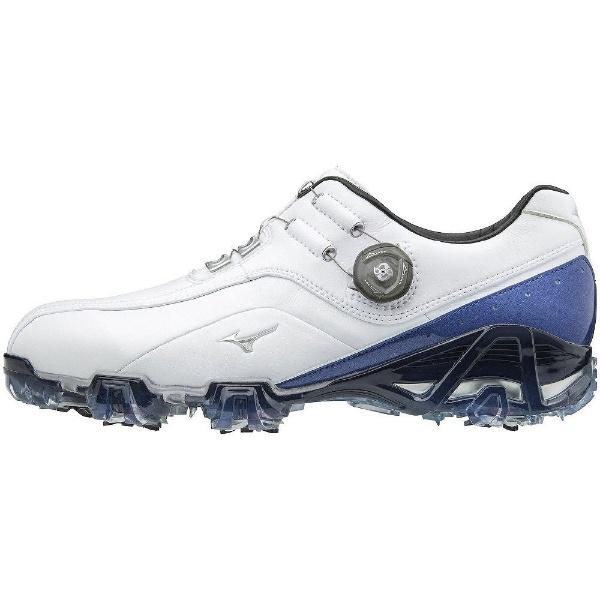 【送料無料】 ミズノ メンズ ゴルフシューズ ジェネム008ボア(24.5cm/ホワイト×ブルー/4E) 51GQ1800