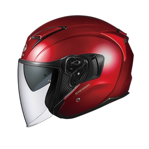 【送料無料】 OGK kabuto EXCEED オープンフェイスヘルメット シャイニーレッド Lサイズ(59-60cm)