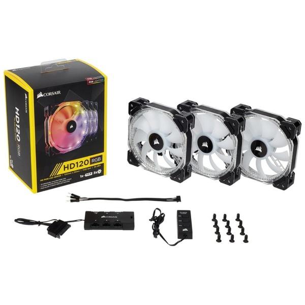 【送料無料】 CORSAIR(コルセア) ケースファン[120mm / 1725RPM] HD120 RGB LED Three Pack CO-9050067-WW