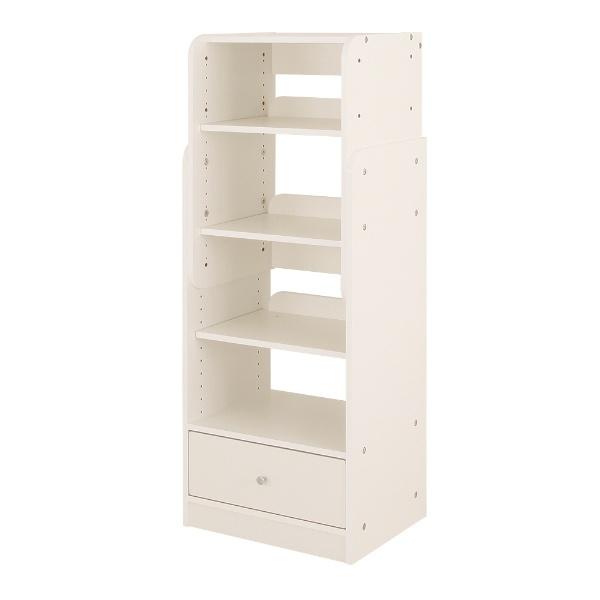 【送料無料】 充英アート 高さ調整可能なキッズラック ブックラック (幅45.4×奥行35×高さ89.5/101.5/113.5/125.5cm) SKR-45BW ホワイト