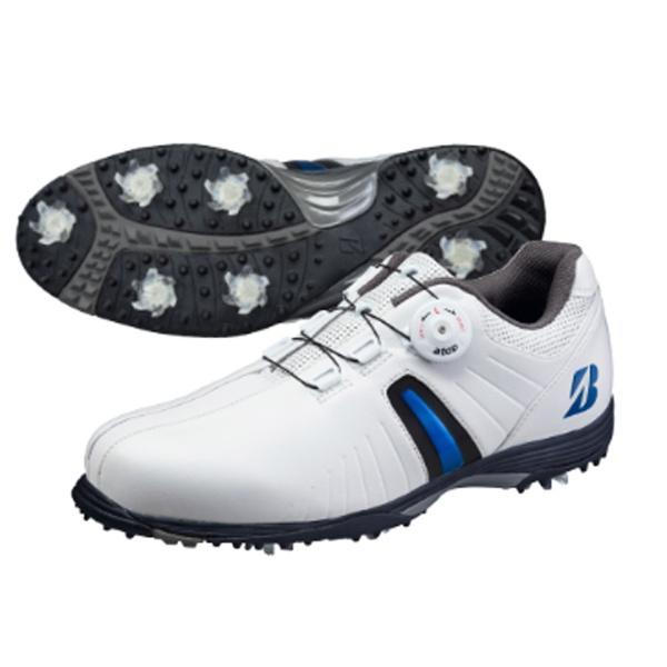 【送料無料】 ブリヂストン メンズ ゴルフシューズ TOUR B(25.0cm/白×青)SHG720【靴幅:3E】