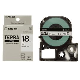 テプラPROカートリッジ18透明に黒5本【電子文具/テプラカートリッジ】