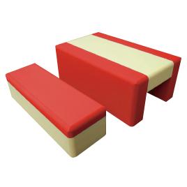 重ねて収納ベンチ 赤【備品/家具】