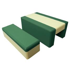 重ねて収納ベンチ 緑【備品/家具】