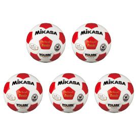 サッカーボール検定球4号 赤(5個)【運動用品/サッカーボール】