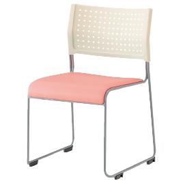 スタッキングチェア ホワイト/ピンク【整理保管・事務用家具/オフィスチェア】