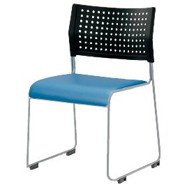 スタッキングチェア ブラック/ブルー【整理保管・事務用家具/スタッキングチェア】