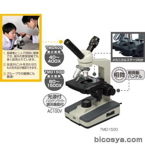 ツインビュー生物顕微鏡TMD1500 送料無料[メール便不可](顕微鏡 ステージ上下顕微鏡 夏休み 自由研究 理科 実験キット マイクロスコープ)