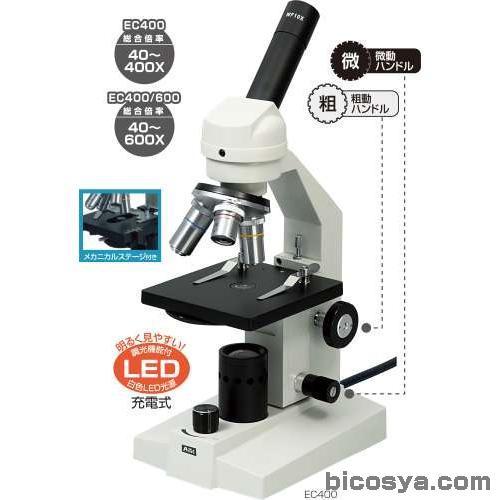 生物顕微鏡 EC400/600(簡易メカニカルステージ付タイプ) 送料無料[メール便不可](顕微鏡 ステージ上下顕微鏡 夏休み 自由研究 理科 実験キット マイクロスコープ)
