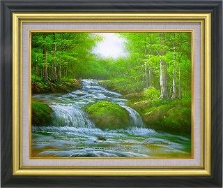 油絵 オイルペイントアート 黒木 啓 溪流 F10 iop-61359 絵画 壁掛け 手描き 人気のよろこばれる贈答品