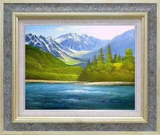 油絵 オイルペイントアート 黒木 啓 上高地 F6 iop-61362 絵画 壁掛け 手書き 送料無料